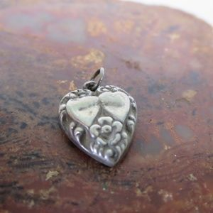 Vintage Sterling Silver Embossed Heart Charm